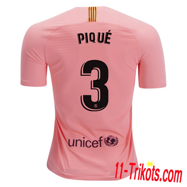 Spielername | Neues FC Barcelona Third Trikot 3 PIQUE Orange 2018-19 Kurzarm Herren