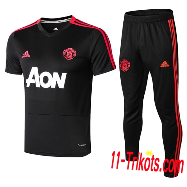 Neuestes Fussball Pre Match Training Manchester United Trainingstrikot + 3/4 Hose Schwarz 2019 2020 | 11-trikots