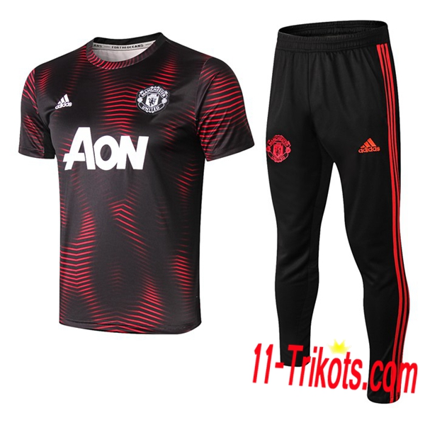 Neuestes Fussball Pre Match Training Manchester United Trainingstrikot + 3/4 Hose Rot/Schwarz 2019 2020 | 11-trikots