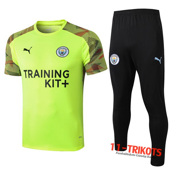 Neuestes Fussball T-Shirts Manchester City Trainingstrikot + Hose Grün 2019 2020 | 11-trikots