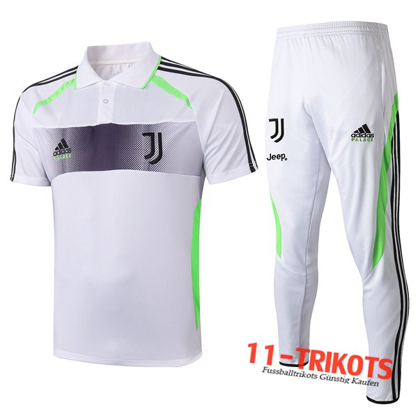 Neuestes Fussball Juventus Adidas × Palace Collaborate Edition Poloshirt + Hose Weiß 2019/2020