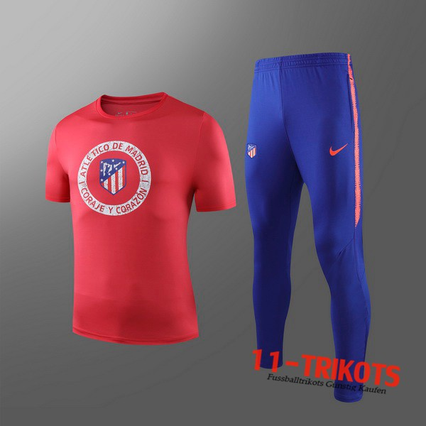 Neuestes Fussball T-Shirts Atletico Madrid Kinder Trainingstrikot + Hose Rot 2019 2020 | 11-trikots