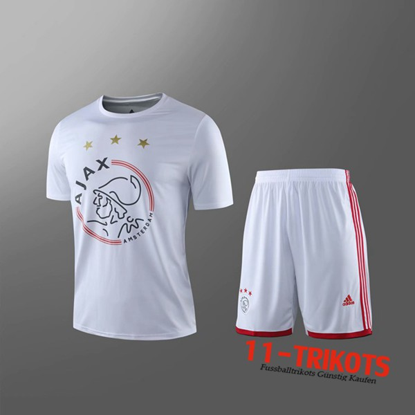 Neuestes Fussball T-Shirts AFC Ajax Trainingstrikot + Shorts Kinder Weiß 2019 2020 | 11-trikots