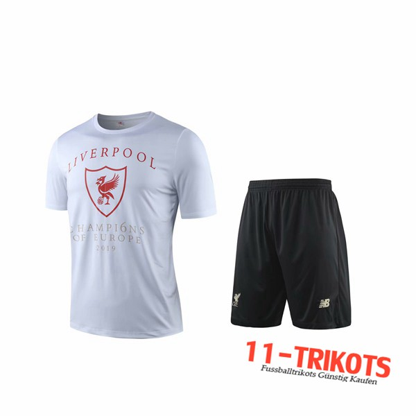 Neuestes Fussball T-Shirts FC Liverpool Trainingstrikot + Shorts Weiß 2019 2020 | 11-trikots
