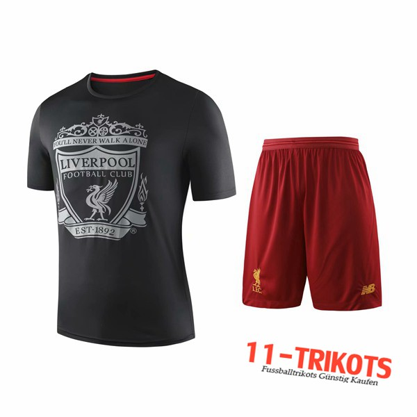 Neuestes Fussball T-Shirts FC Liverpool Trainingstrikot + Shorts Schwarz 2019 2020 | 11-trikots
