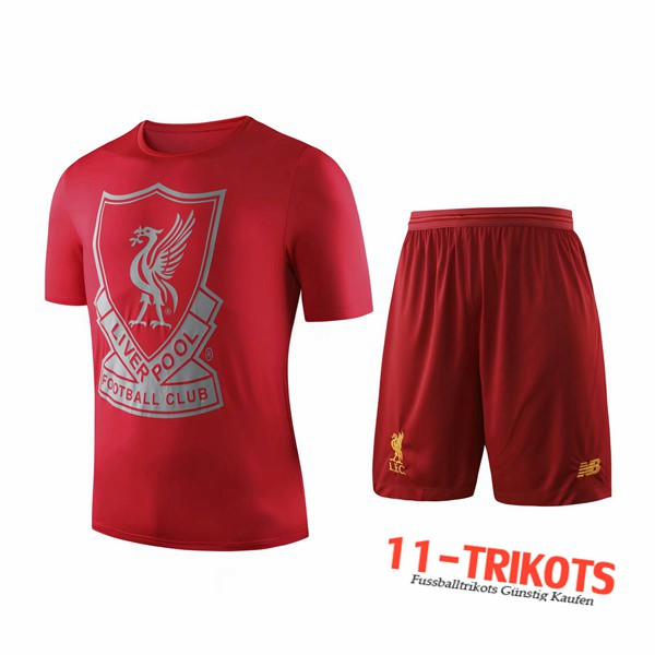 Neuestes Fussball T-Shirts FC Liverpool Trainingstrikot + Shorts Rot 2019 2020 | 11-trikots