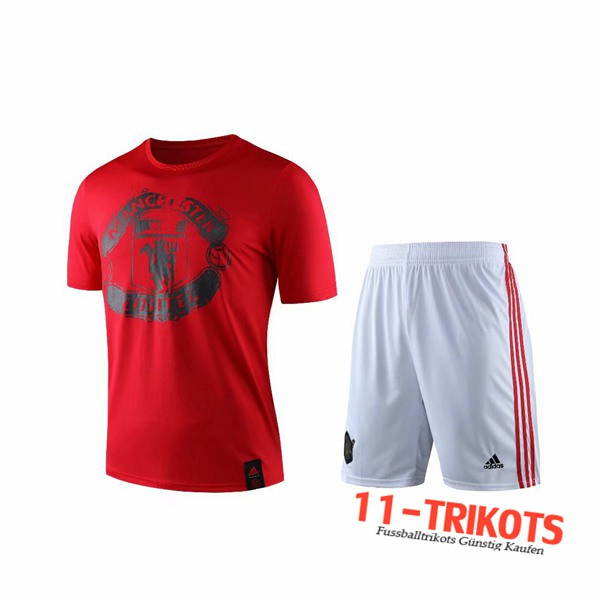 Neuestes Fussball T-Shirts Manchester United Trainingstrikot + Shorts Rot 2019 2020 | 11-trikots