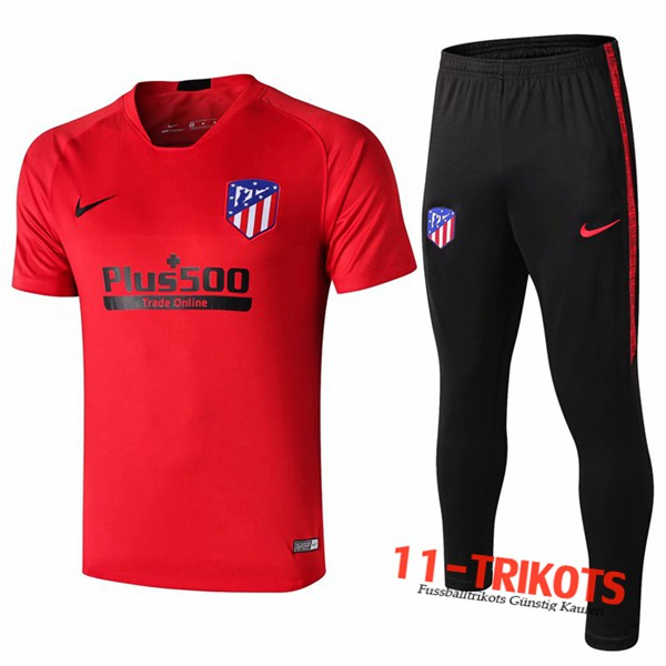 Neuestes Fussball T-Shirts Atletico Madrid Trainingstrikot + Hose Rot 2019 2020 | 11-trikots