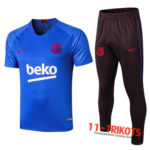Neuestes Fussball T-Shirts FC Barcelona Trainingstrikot + Hose Blue 2019 2020 | 11-trikots