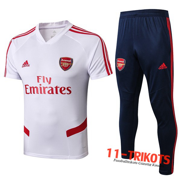 Neuestes Fussball T-Shirts Arsenal Trainingstrikot + Hose Weiß 2019 2020 | 11-trikots