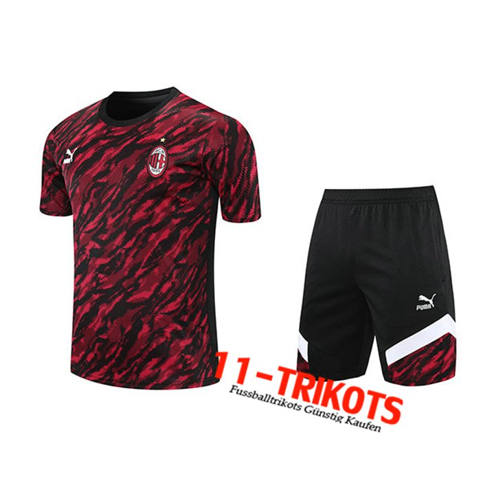 AC Milan Trainingstrikot + Shorts Rot/Schwarz 2021/2022