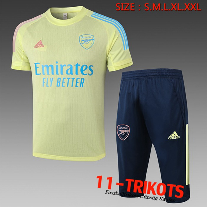 Neuestes Arsenal Trainingstrikot + Hose 3/4 Gelb 2020/2021 | 11-Trikots