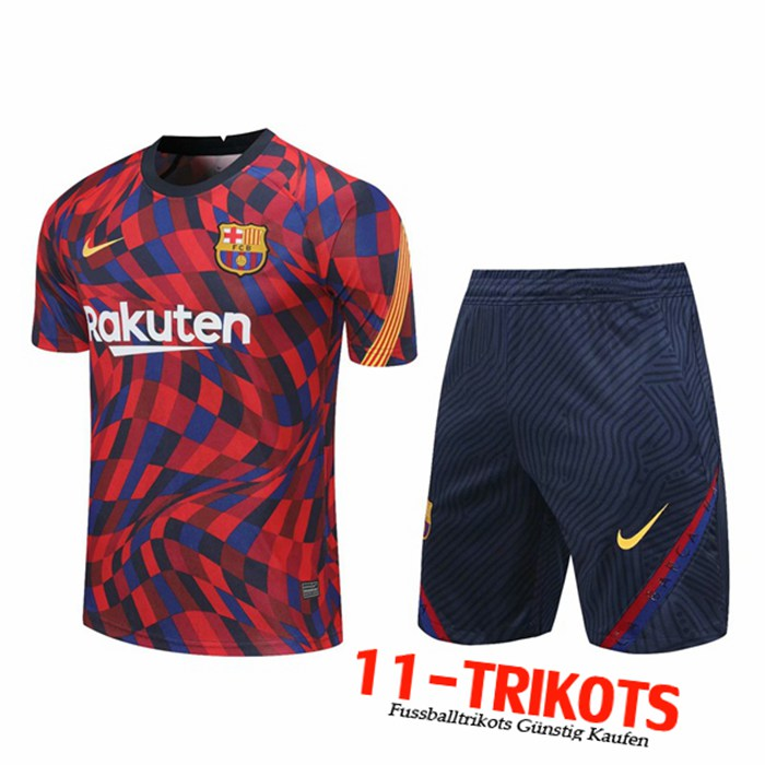Neuestes FC Barcelona Trainingstrikot + Shorts Rot 2020/2021 | 11-Trikots