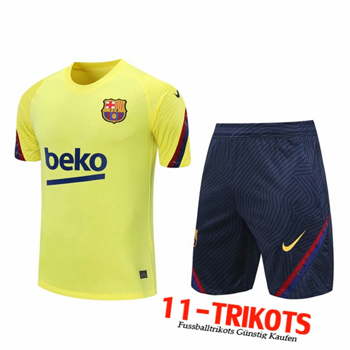 Neuestes FC Barcelona Trainingstrikot + Shorts Gelb 2020/2021 | 11-Trikots