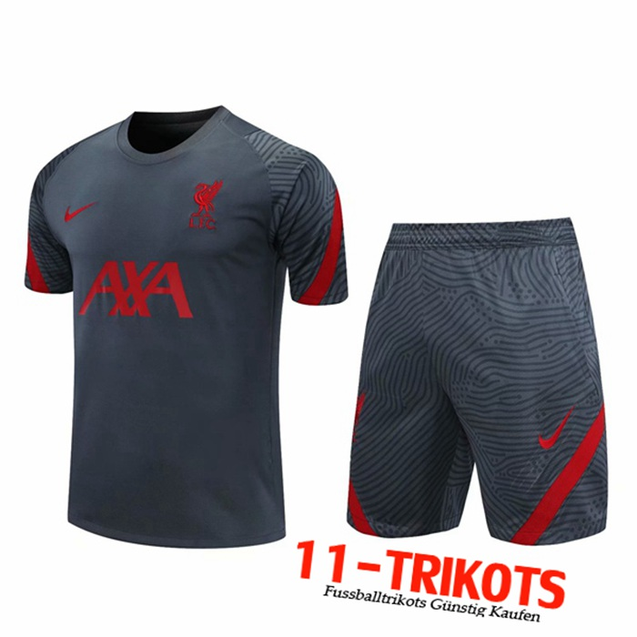 Neuestes FC Liverpool Trainingstrikot + Shorts Grau 2020/2021 | 11-Trikots