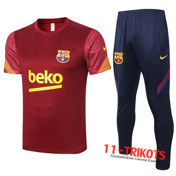 FC Barcelona Trainingstrikot + Hose Rot 2020/2021