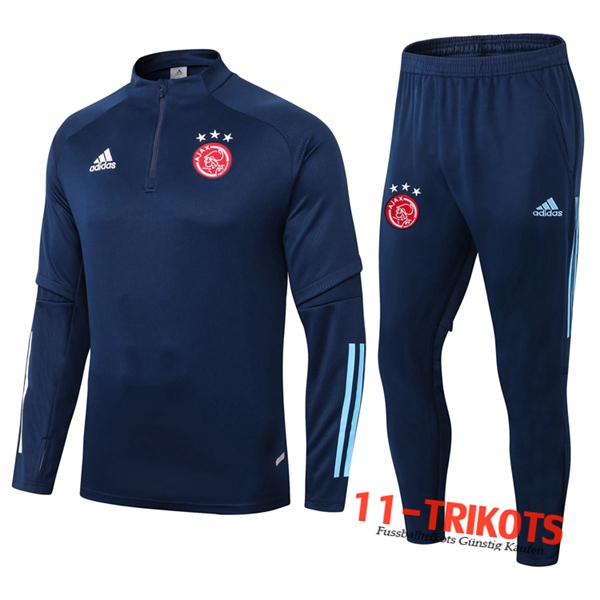 Neuestes Fussball AFC Ajax Trainingsanzug Blau Royal 2020 2021 | 11-trikots
