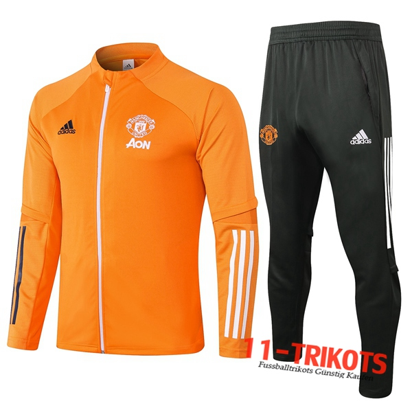 Neuestes Fussball Manchester United Trainingsanzug (Jacke) Orange 2020 2021 | 11-trikots